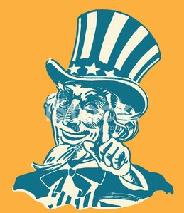 Uncle Sam Wagging His Finger Clipart Image.