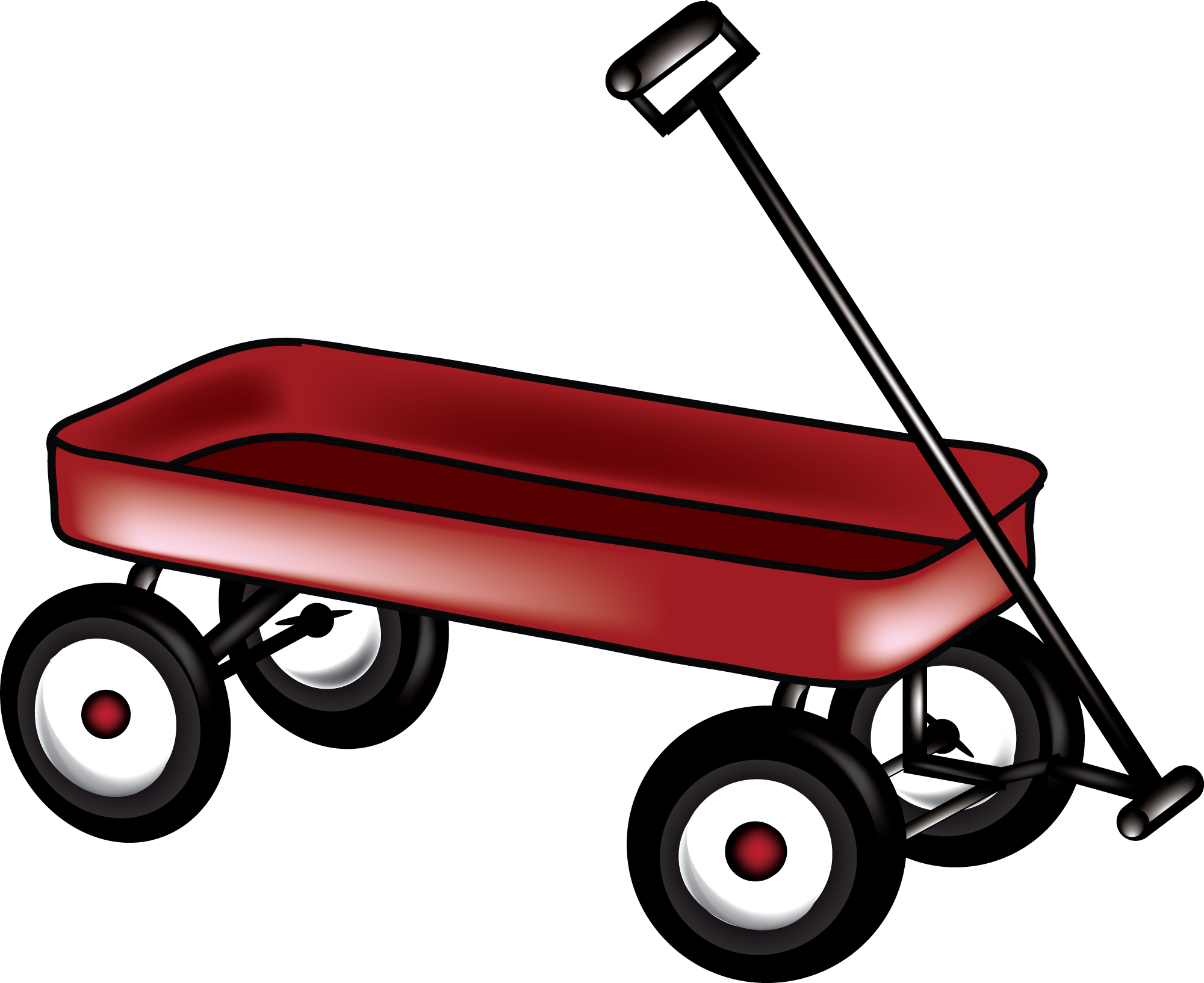 red wagon clipart black and white #5