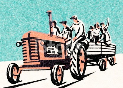 Hay wagon ride Clipart Image.