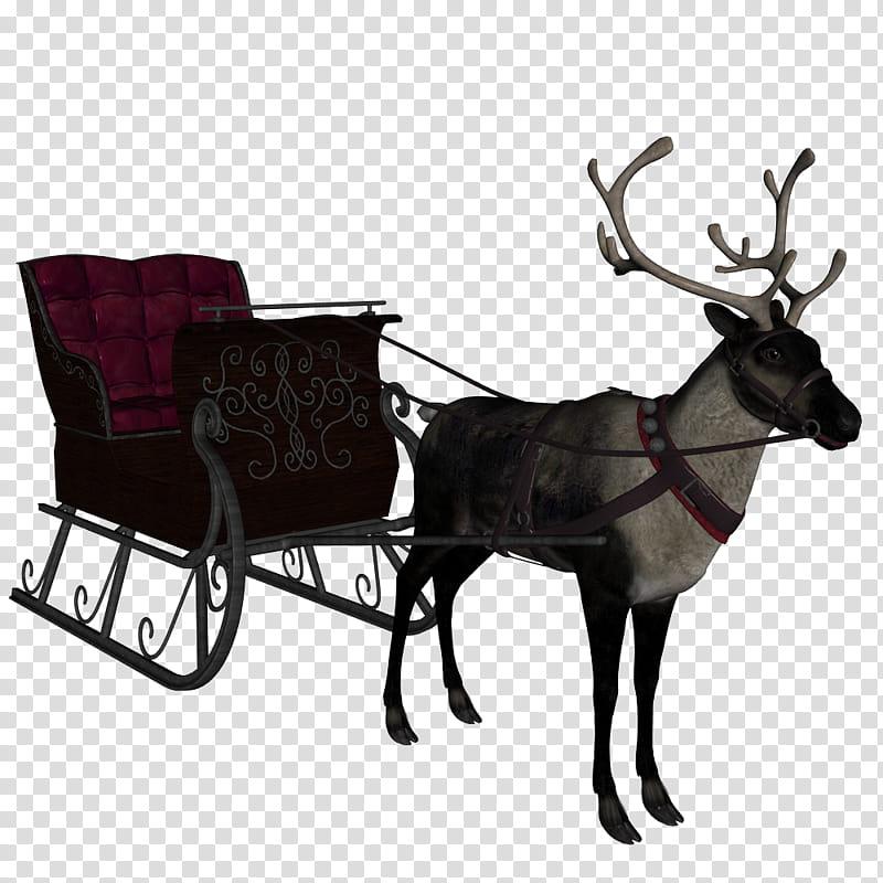 Santa Personal Ride, moose with wagon illustration.