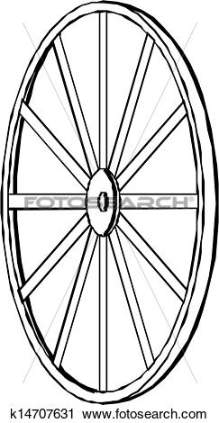 Clipart of Wagon wheel. Vector illustration. k14707631.