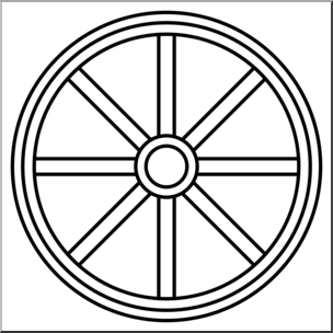Clip Art: Western Theme: Wagon Wheel B&W I abcteach.com.