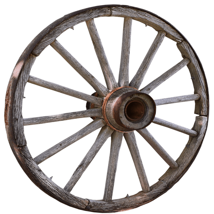 Vintage Wagon Wheel Transparent Background PNG Image.