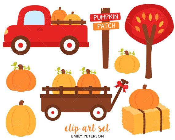 Pumpkin Patch Clip Art, Fall Clipart, Red Truck Clip Art.