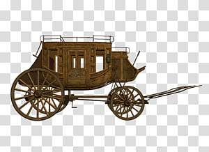 D Stage Coach, brown wooden wagon transparent background PNG.