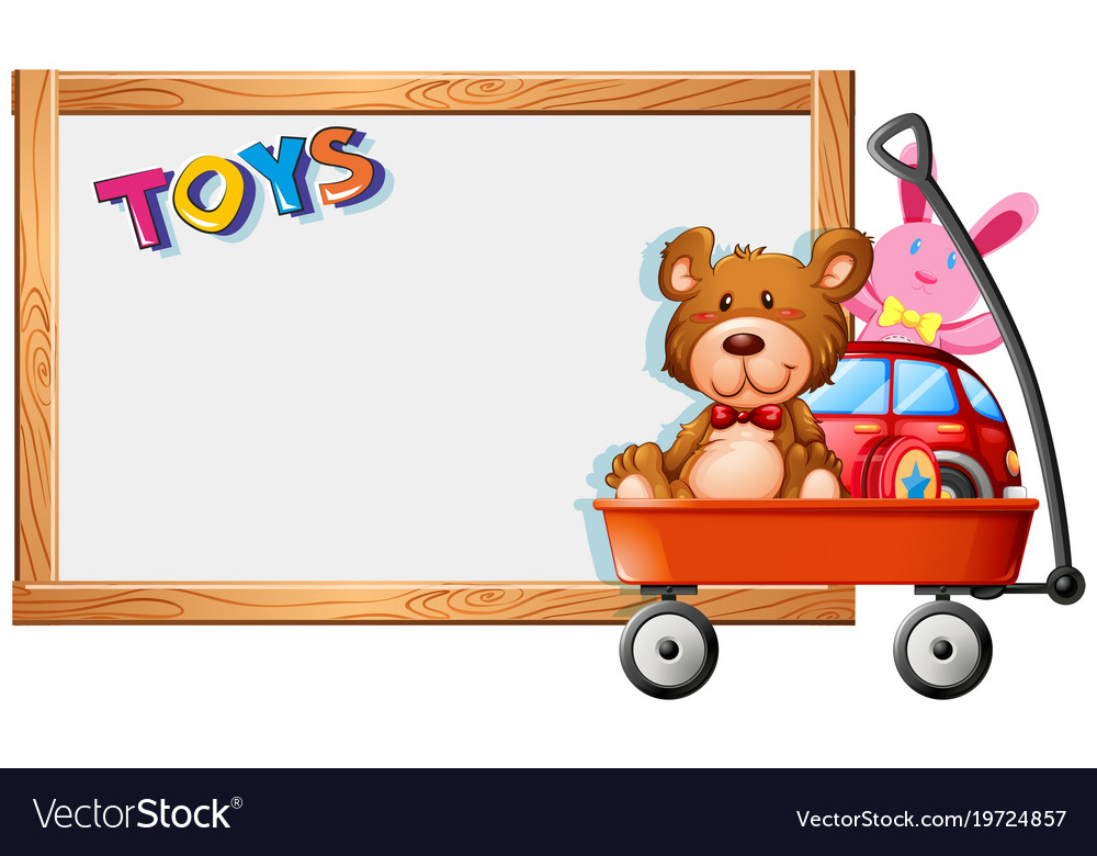 Frame template with toys on red wagon.