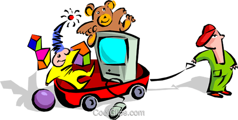 child with wagon of toys Royalty Free Vector Clip Art.