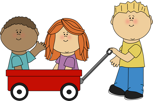 Kids with Wagon Clip Art.