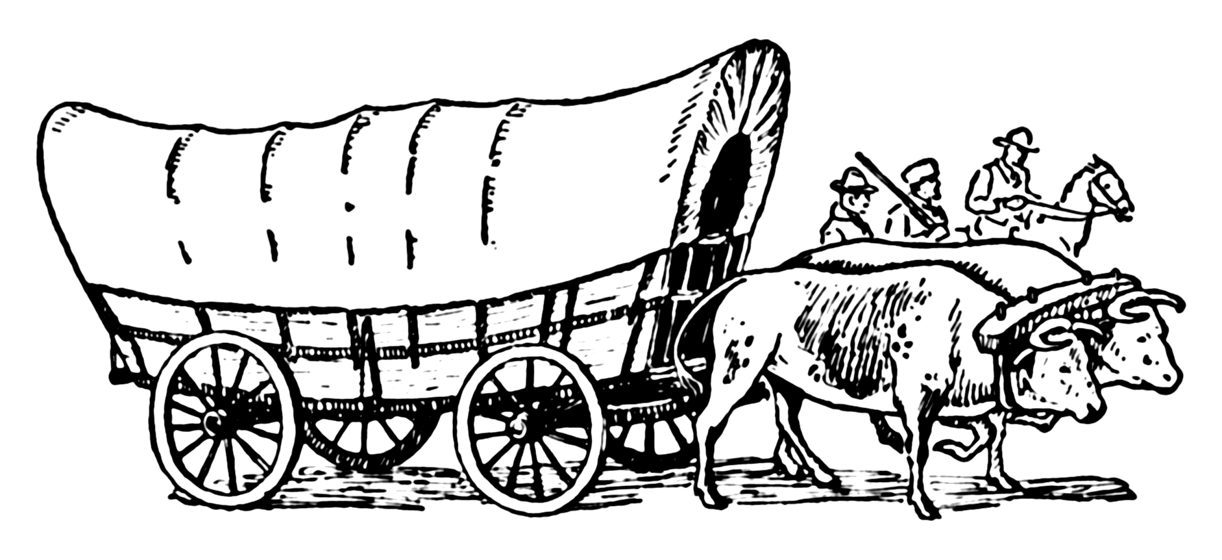 Covered wagon train clipart.