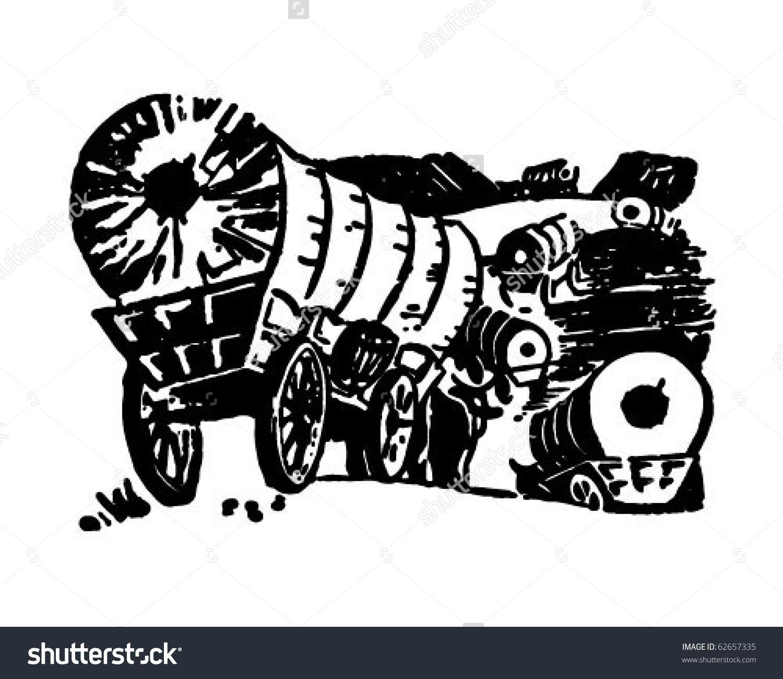 Wagon Train Retro Clipart Illustration Stock Vector 62657335.