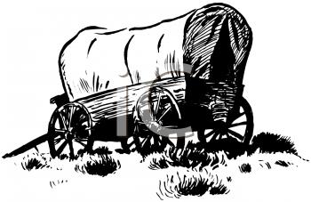 Covered Wagon Train Clipart.