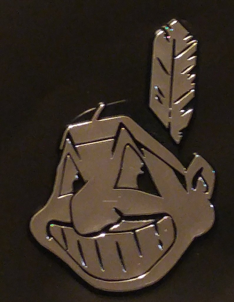 Cleveland Indians Chief Wahoo Logo Die Cut Silver Auto Emblem.