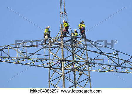 Picture of Overhead linemen working on a pylon, Waiblingen, Baden.