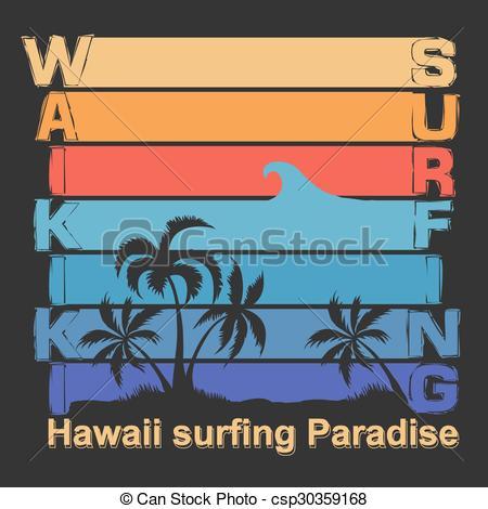 Clip Art Vector of Surfing t.