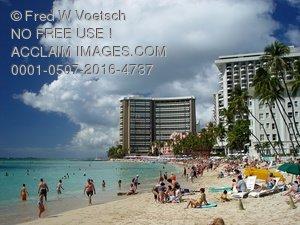 Clip Art Stock Photo of Waikiki Beach, Hawaii.