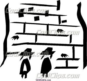 people praying at the Wailing Wall in Jerusalem Clip Art.
