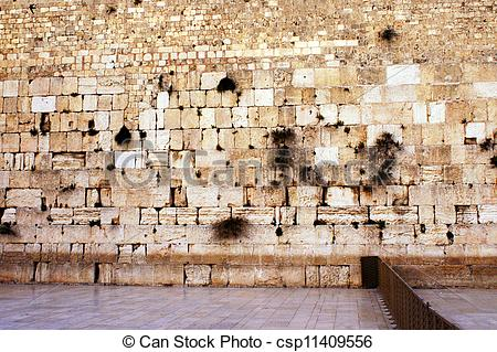 Stock Images of The western wailing wall the Kotel Empty at night.