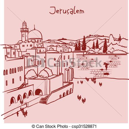 Vectors Illustration of Jerusalem, Israel old city skyline.