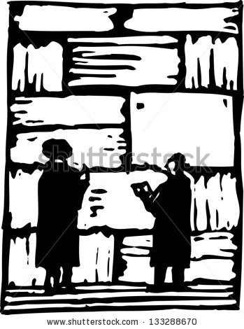 Black And White Vector Illustration Of Wailing Wall.