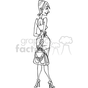 cartoon female in black and white clipart. Royalty.
