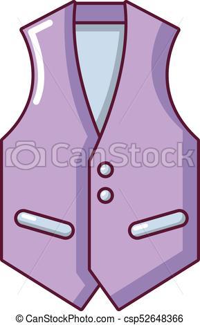 Waistcoat icon, cartoon style.