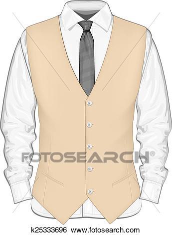 Dress shirt with waistcoat. Clip Art.