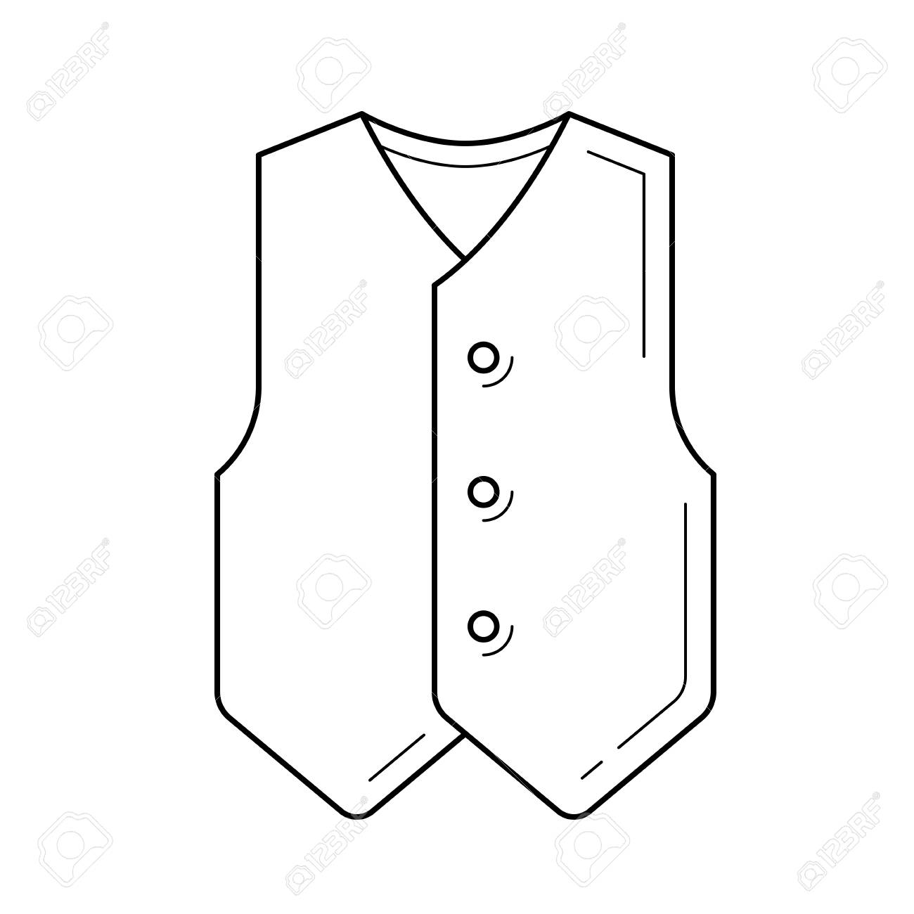 Waistcoat line icon isolated on white background. Vector line...