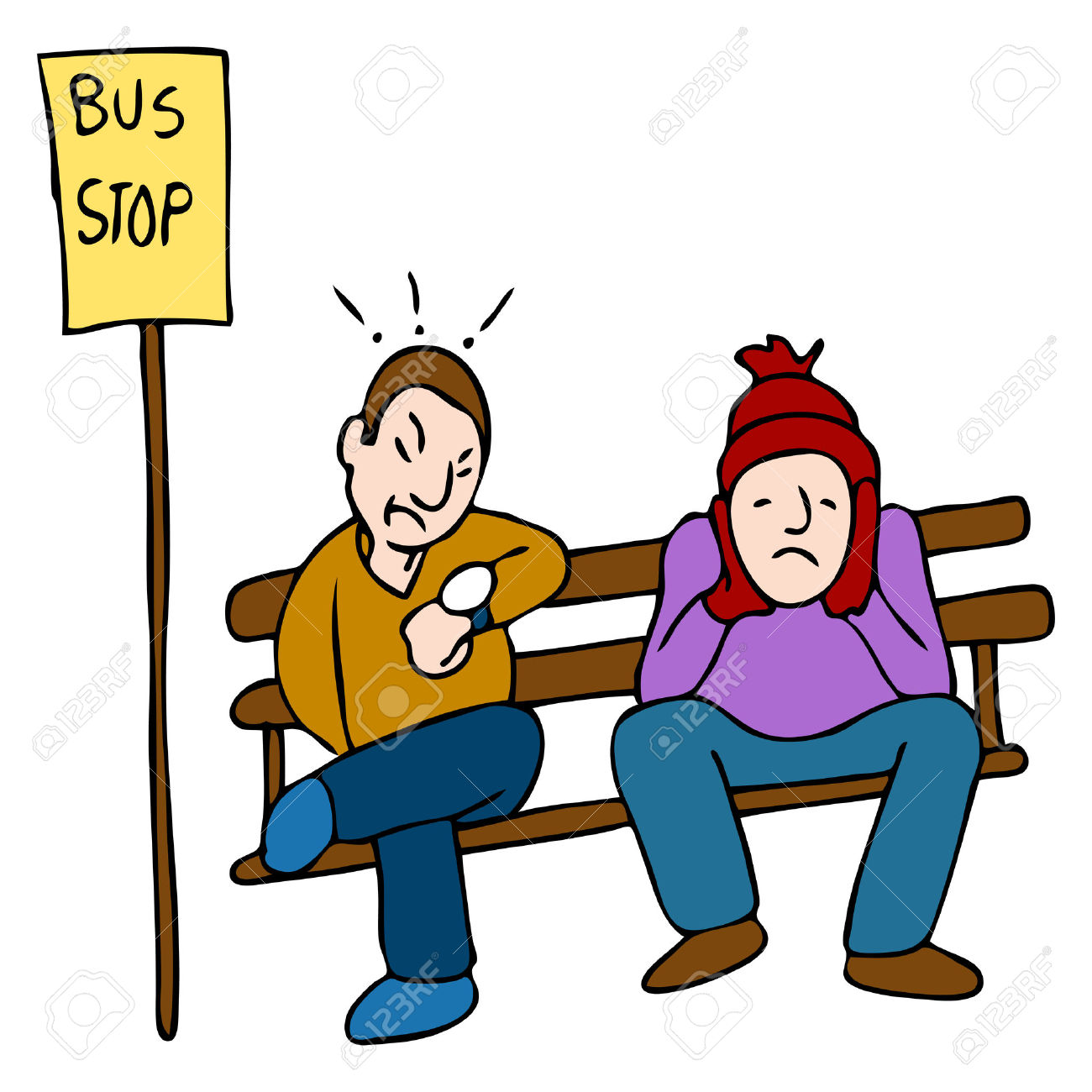 Waiting For Bus Clipart.