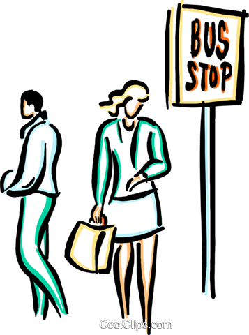 People Waiting For Bus Clipart.