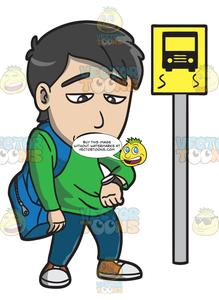 A Young Man Gets Bored While Waiting For A Bus.
