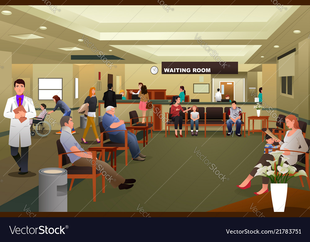Patients waiting in a hospital waiting room.