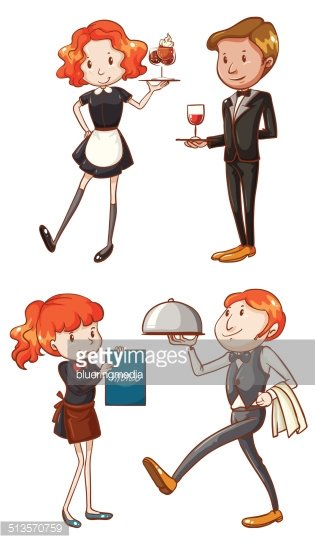 Waiters and waitresses Clipart Image.