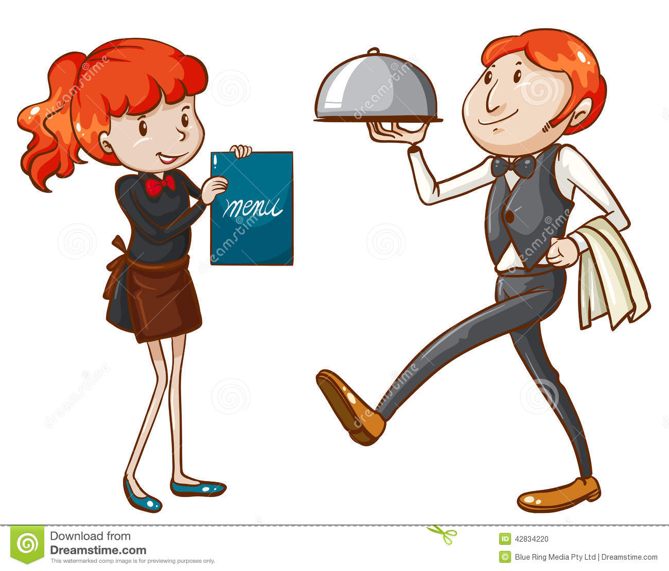 Waiter And Waitress Clipart.