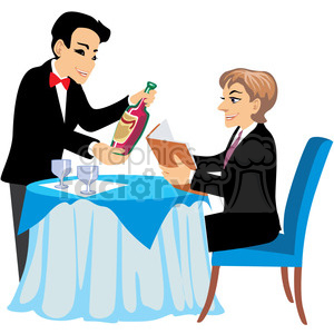 waiter serving wine at a restaurant clipart. Royalty.