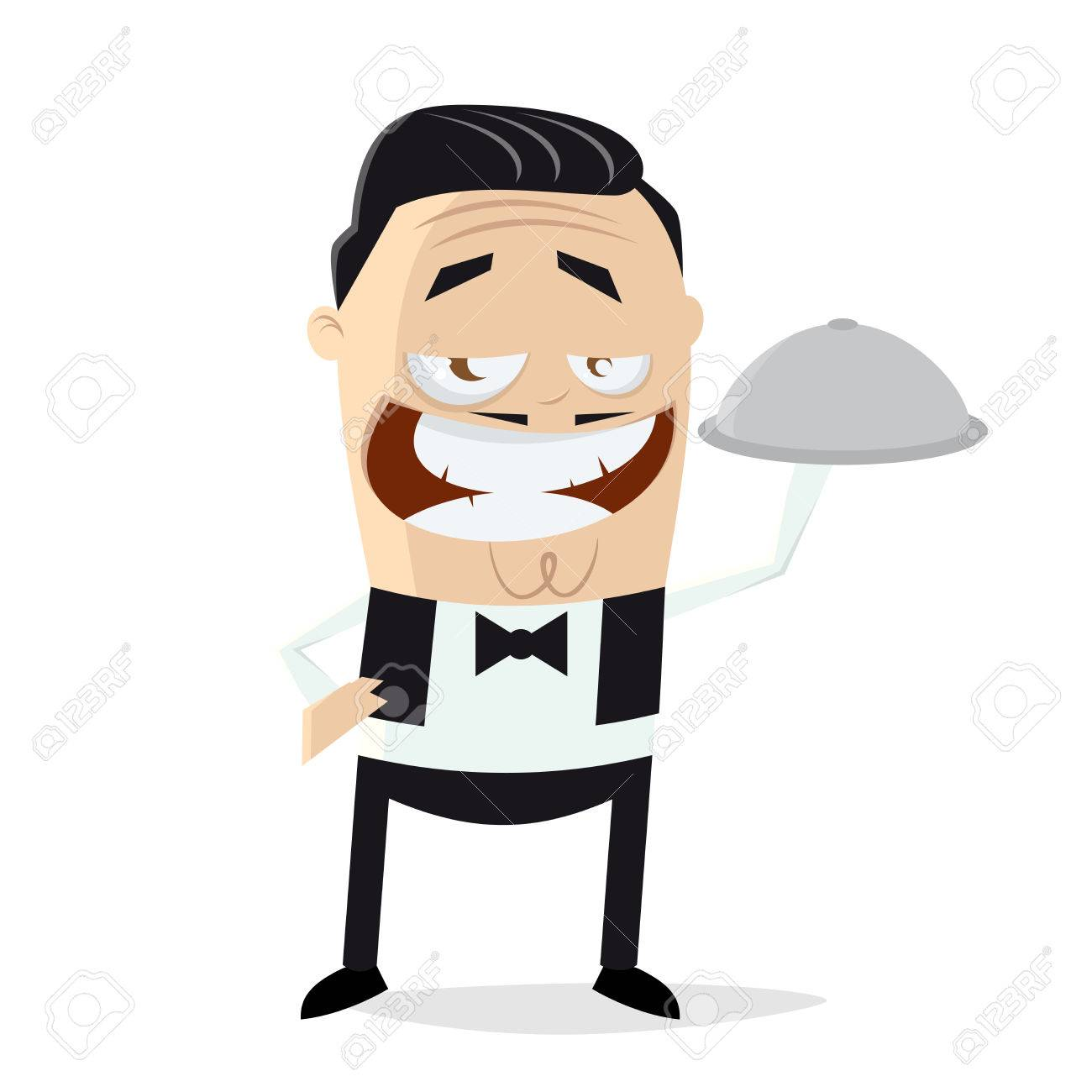 Funny cartoon waiter clipart..