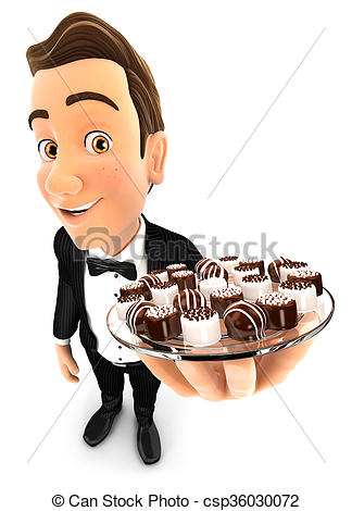 3d waiter holding plate with various chocolates.