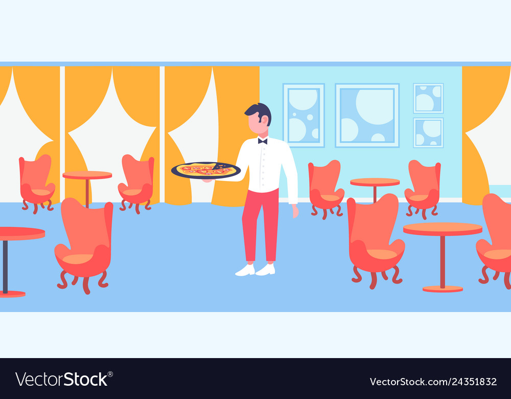 Waiter holding plate with hot pizza restaurant.
