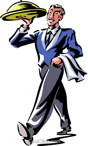 waiter with a serving tray Royalty Free Vector Clip Art.