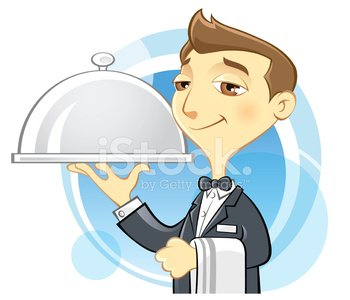 Waiter Holding Serving Tray Clipart Image.