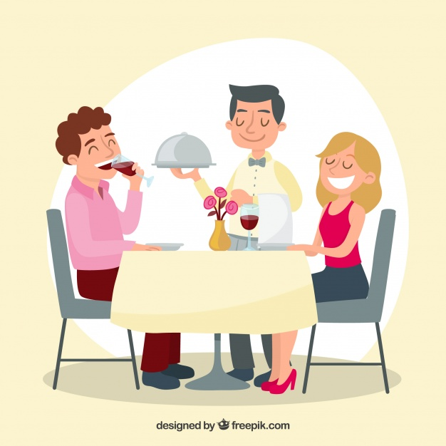 Waiter and couple in elegant restaurant Vector.