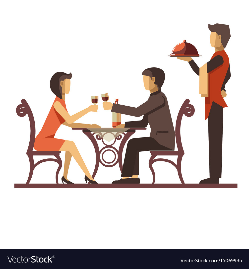 Young couple dating in restaurant and waiter near.
