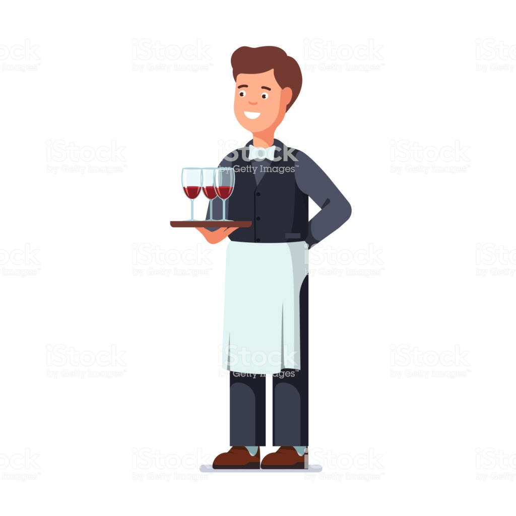 Restaurant Waiter Holding In Hand Three Wineglasses Filled With Red Wine On  Tray Flat Vector Clipart Illustration Stock Illustration.
