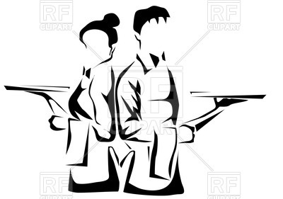 Restaurant waiters with tray Vector Image.