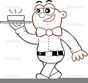 Waiter Serving Clipart.