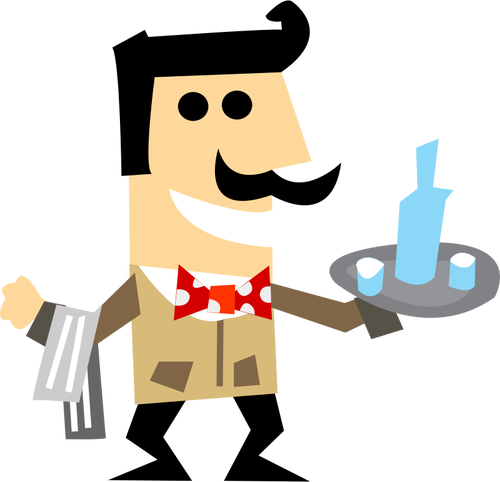 Vector clip art of waiter man with a tray.