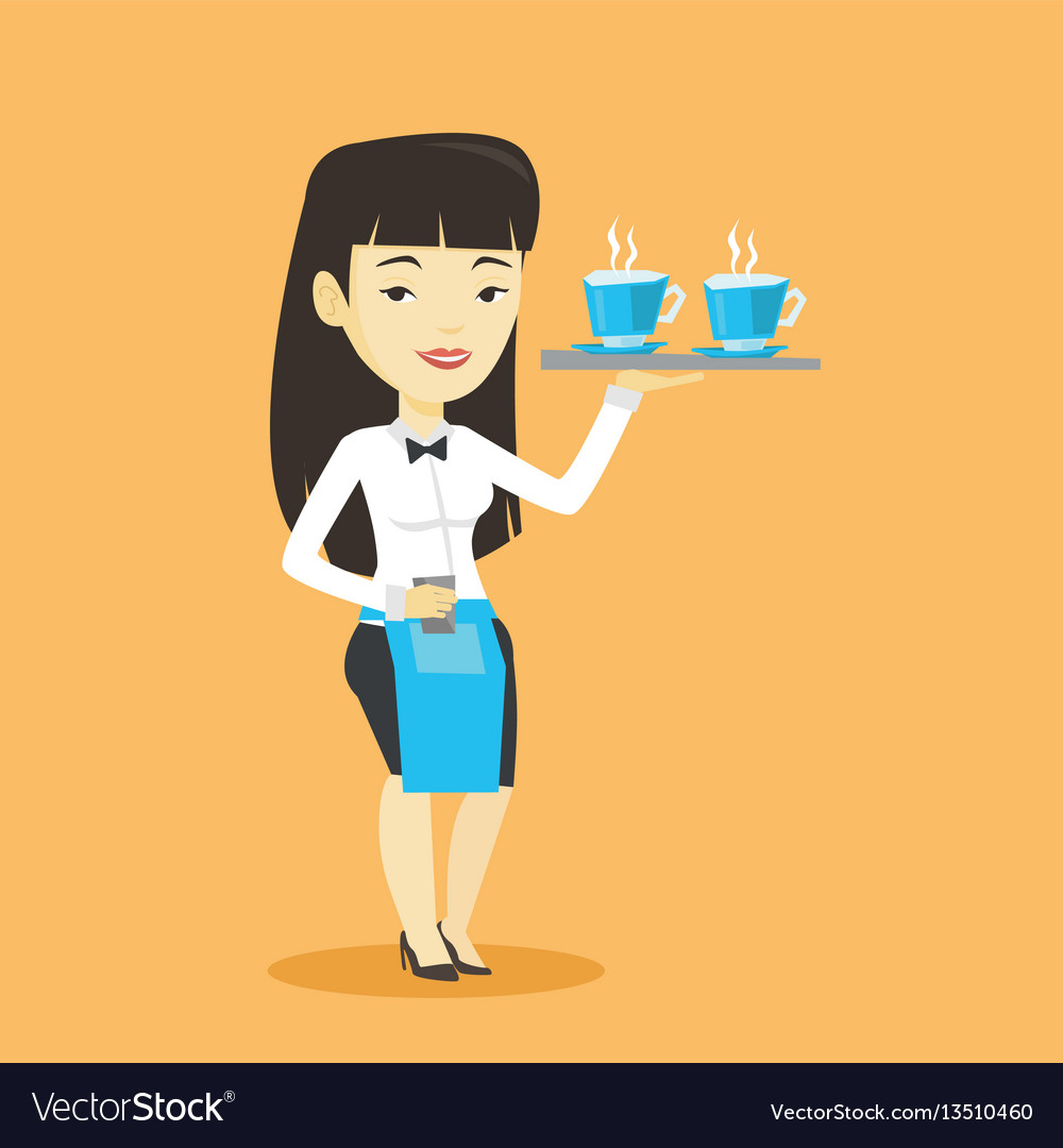 Waitress holding tray with cups of coffeee or tea.