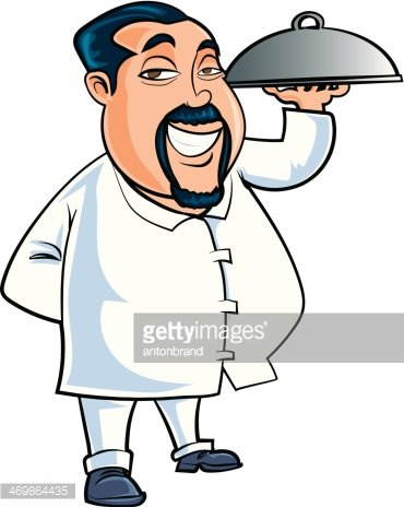 Cartoon chinese waiter serving food Clipart Image.