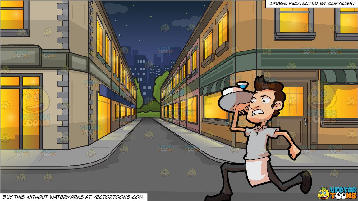 A Waiter Rushing Out To Serve Orders and An City Side Street At Night  Background.