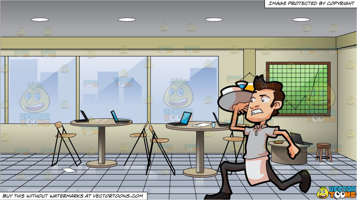 A Waiter Rushing Out To Serve Orders and Inside A Messy Meeting Room.