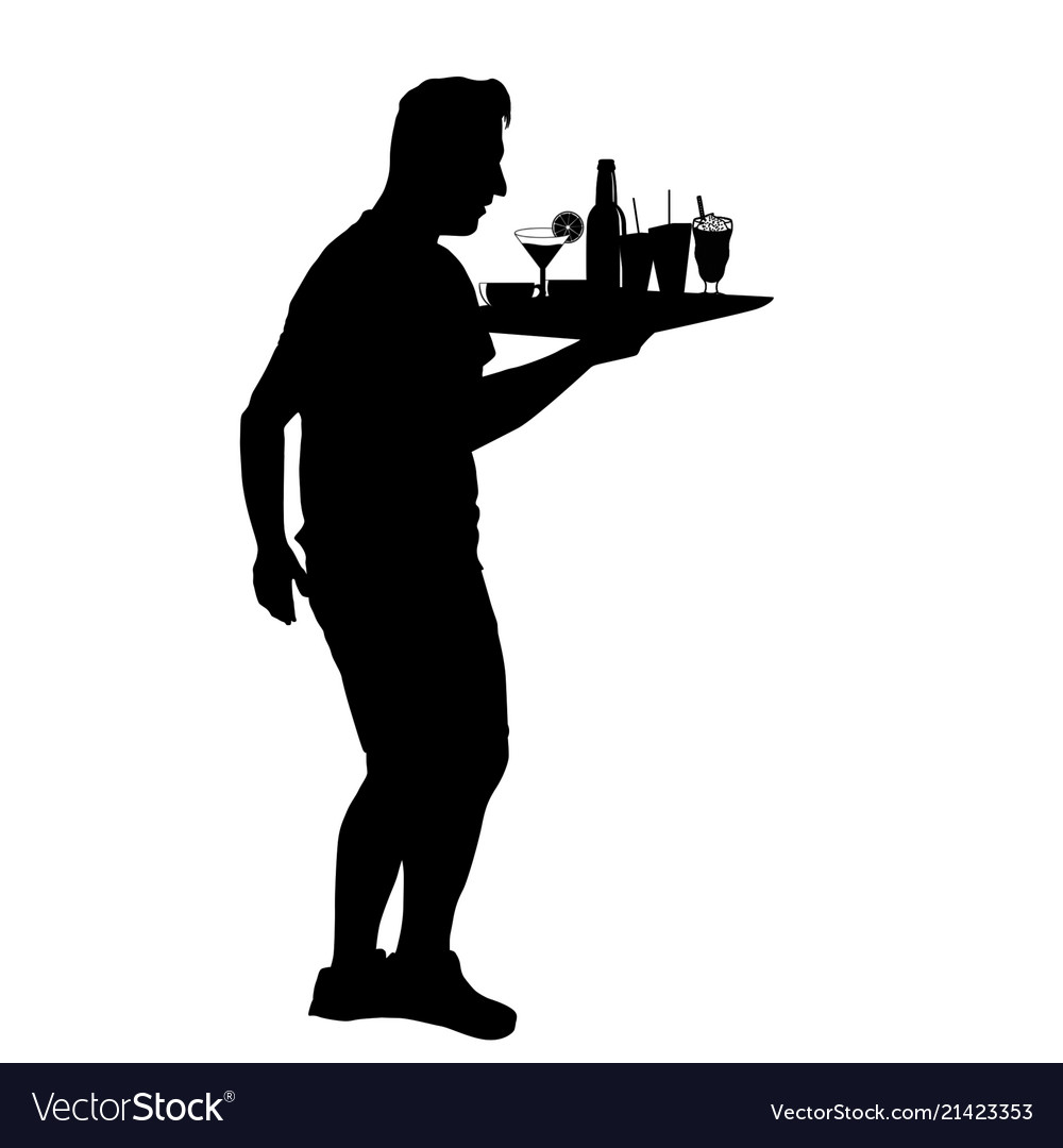 Waiter silhouette with the tray.